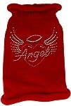Angel Heart Rhinestone Knit Pet Sweater SM Red